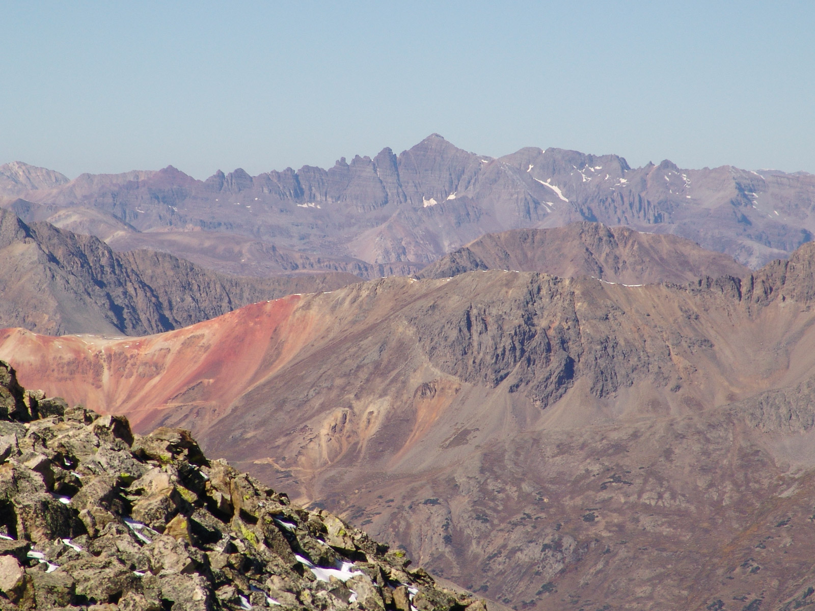 Red Mountain seen from La Plata Peak. 14er Castle Peak is in the distance.