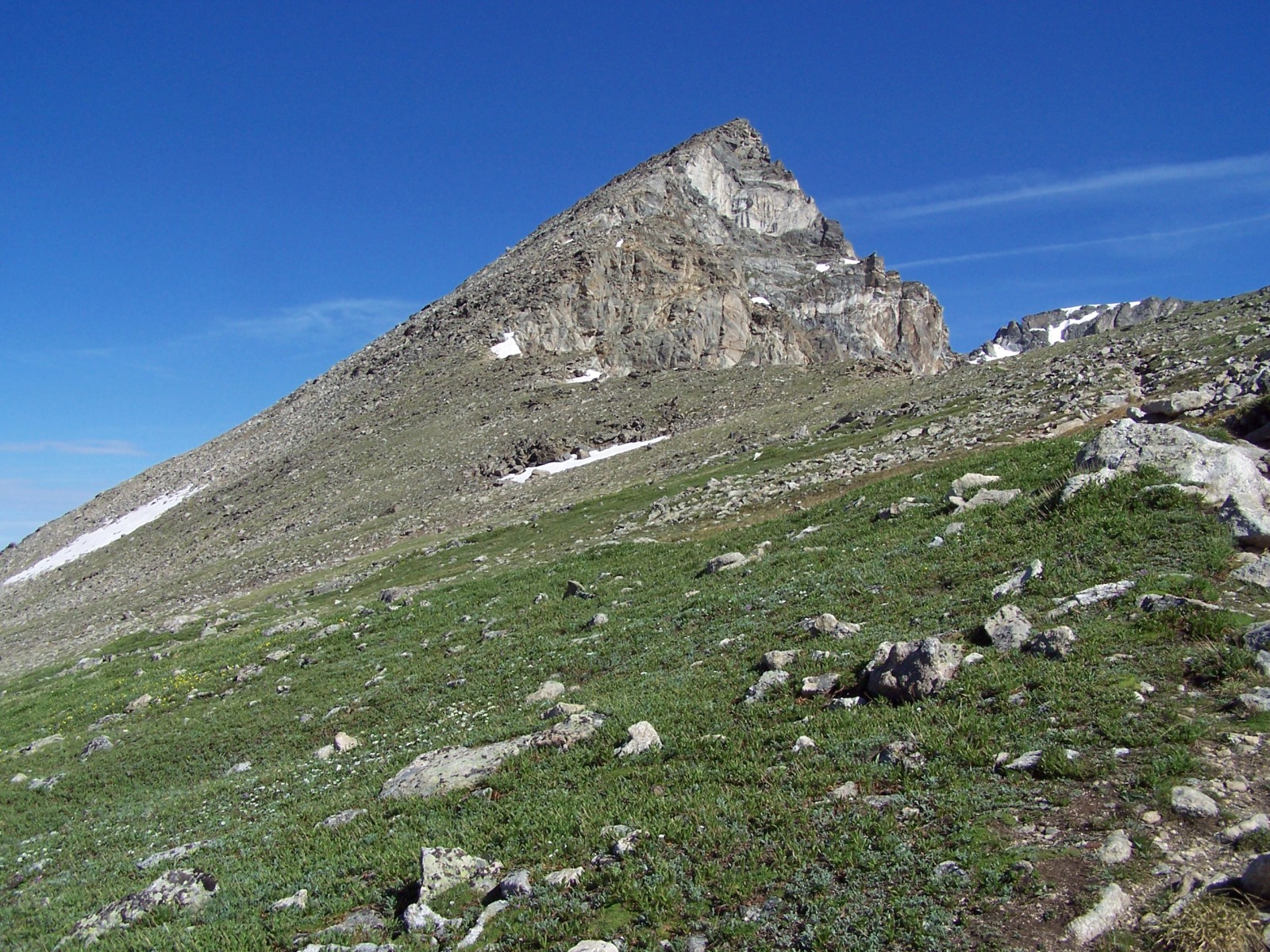 "South Arapaho Peak seen while approaching the saddle with ""Old Baldy"""