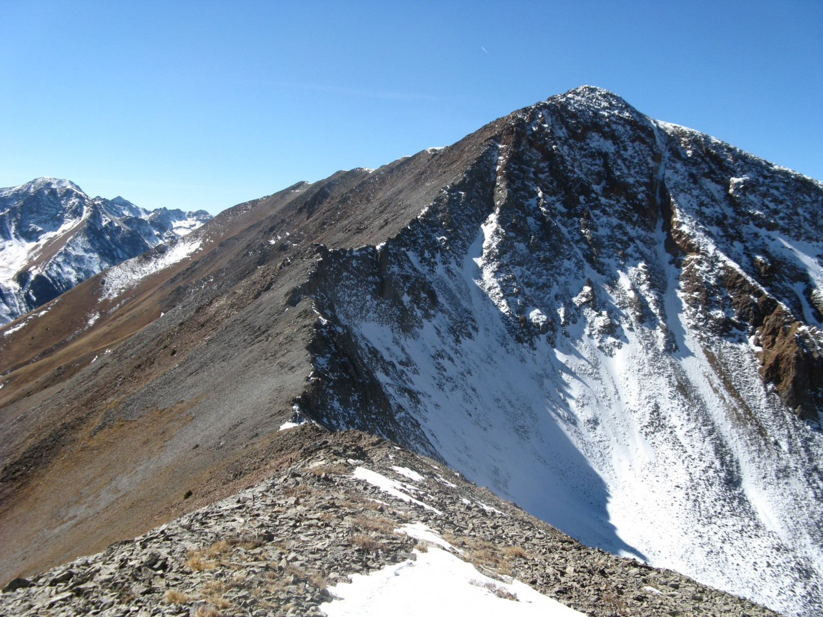 """C.T. Peak"" from the north along the connecting ridge with ""Gudy Peak"""