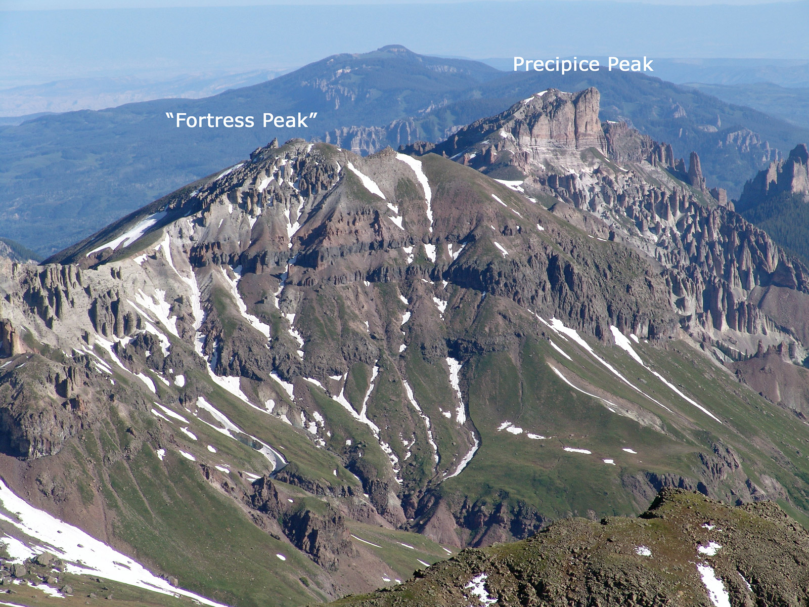 """Fortress Peak"" from the summit of Wetterhorn Peak."