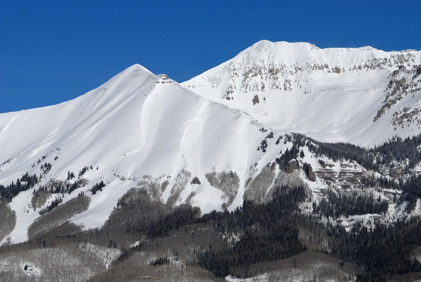 "Campbell Peak (left) and Unnamed 13,735 (""T0"") from Telluride"