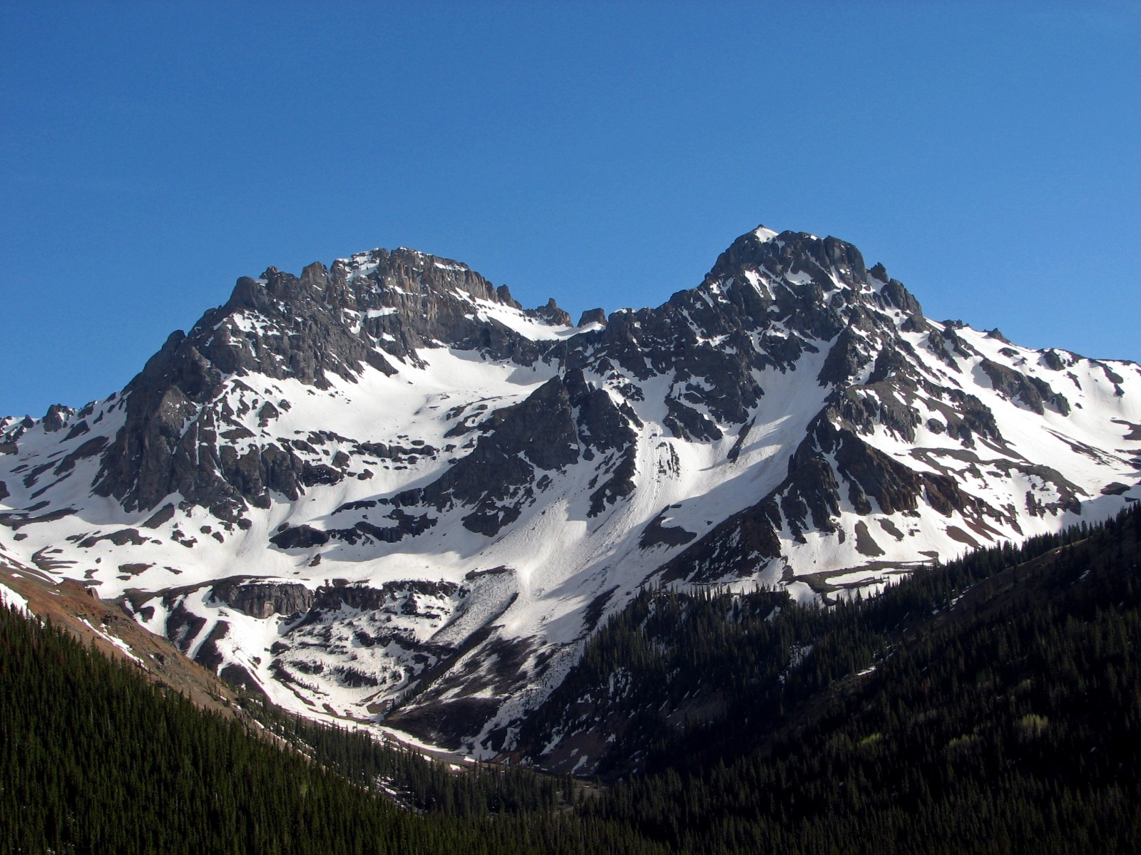 US Grant Peak as seen from the Ophir Pass Road over Memorial Day Weekend, 2006.
